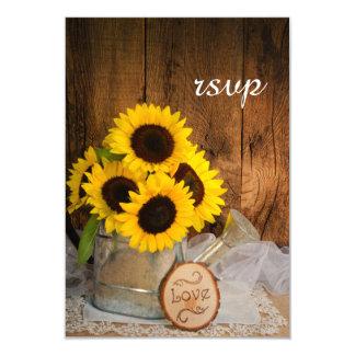Sunflowers Garden Watering Can Wedding RSVP Card