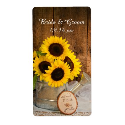 Sunflowers Garden Watering Can Wedding Thank You Personalized Shipping Labels