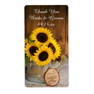 Sunflowers Garden Watering Can Wedding Thank You Shipping Label
