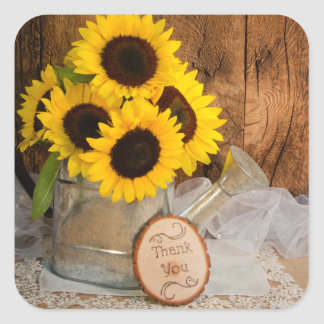 Sunflowers Garden Watering Can Wedding Thank You Square Sticker