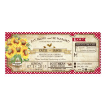 Sunflowers Gingham Check Country Picnic Wedding Card