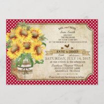 Sunflowers Gingham Check Country Picnic Wedding Invitation