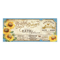 Sunflowers Gingham Country Picnic Bridal Shower Invitation