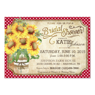 Sunflowers Gingham Country Picnic Bridal Shower 5x7 Paper Invitation Card