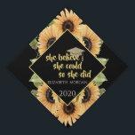 """Sunflowers Glitter Graduate Cap<br><div class=""""desc"""">Elegant sunflowers and glitter graduate cap with a motivational message.</div>"""