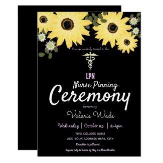 Sunflowers Graduation LPN Nurse Pinning Ceremony Invitation