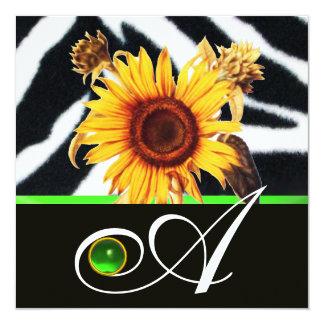 SUNFLOWERS GREEN BLACK WHITE ZEBRA FUR MONOGRAM 5.25X5.25 SQUARE PAPER INVITATION CARD