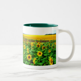 Sunflowers - green  by TDGallery Two-Tone Coffee Mug