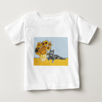 Sunflowers - Grey cat Baby T-Shirt