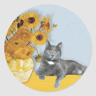 Sunflowers - Grey cat Classic Round Sticker