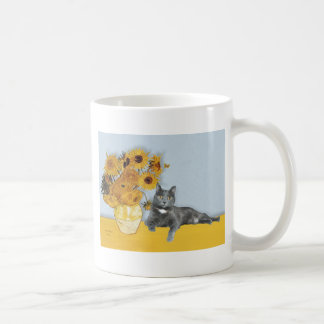 Sunflowers - Grey cat Coffee Mug
