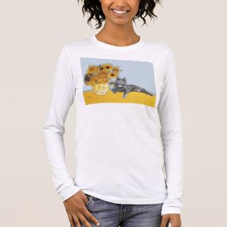 Sunflowers - Grey cat Long Sleeve T-Shirt