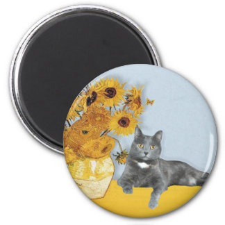 Sunflowers - Grey cat Magnet