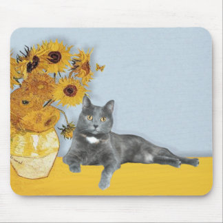 Sunflowers - Grey cat Mouse Pad
