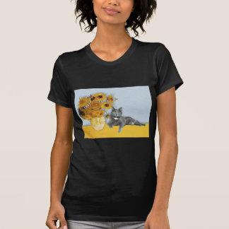Sunflowers - Grey cat T-Shirt