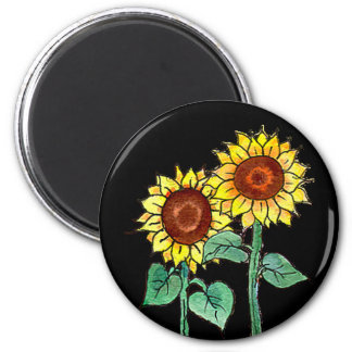 SUNFLOWERS GROWING by SHARON SHARPE 2 Inch Round Magnet