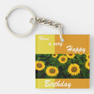 Sunflowers - Happy Birthday Acrylic Keychain