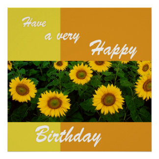 Sunflowers - Happy Birthday Poster