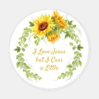Sunflowers I Love Jesus But I Cuss a Little Coaster Set