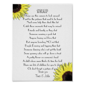 Sunflowers I Spy Snap Wedding Photo Game Poster