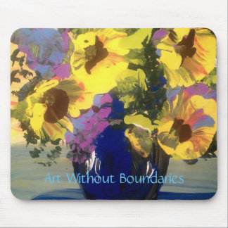 Sunflowers in a Blue Vase Mouse Pad