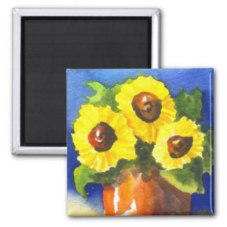 Sunflowers in a Clay Pot 2 Inch Square Magnet