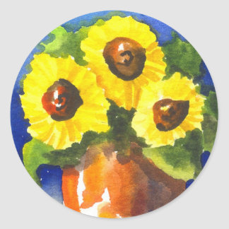 Sunflowers in a Clay Pot Classic Round Sticker