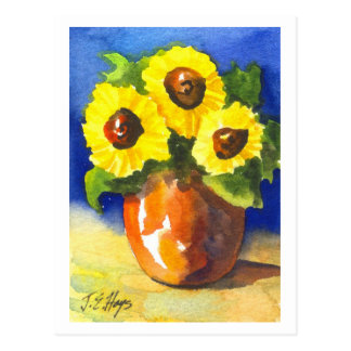 Sunflowers in a Clay Pot Postcard