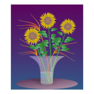 Sunflowers In a Glass Vase Poster
