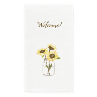 Sunflowers In A Mason Jar Paper Guest Towels