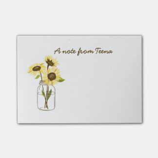 Sunflowers In A Mason Jar Post-It Notes