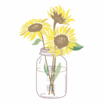 Sunflowers in a Mason Jar Statuette