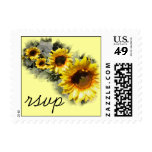 Sunflowers in a Row Wedding RSVP Postage Stamp