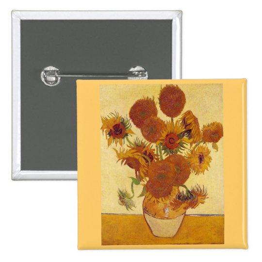 Sunflowers in a Vase (F454) Van Gogh Fine Art Pinback Button