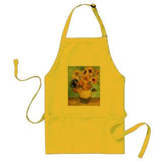 Sunflowers in a Vase (F455) Van Gogh Fine Art Adult Apron