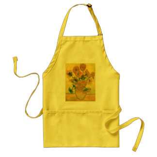 Sunflowers in a Vase (F457) Van Gogh Fine Art Adult Apron