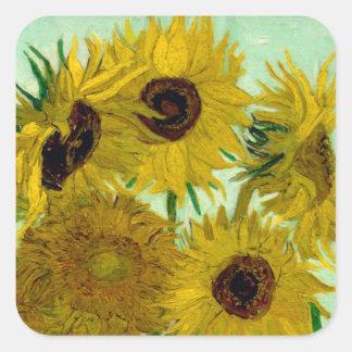 Sunflowers in a Vase Van Gogh Fine Art Square Sticker