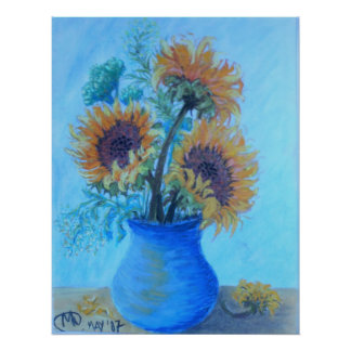 Sunflowers in an azure Vase Poster