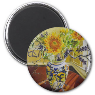 Sunflowers in an Italian Vase 2 Inch Round Magnet