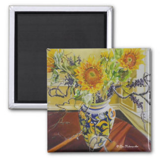 Sunflowers in an Italian Vase 2 Inch Square Magnet