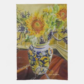 Sunflowers in an Italian Vase Hand Towel