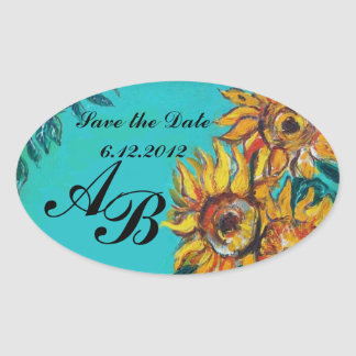 SUNFLOWERS IN BLUE TEAL Save the Date Monogram Oval Sticker
