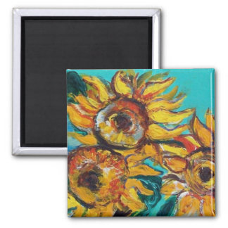 SUNFLOWERS IN BLUE TURQUOISE MAGNET