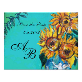 SUNFLOWERS IN BLUE TURQUOISE SUMMER PARTY MONOGRAM CARD