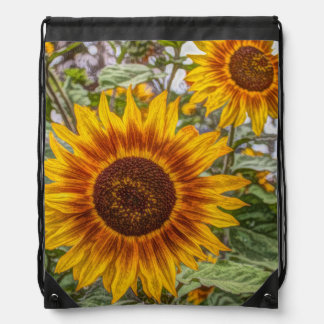 Sunflowers in field drawstring backpack