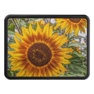 Sunflowers in field tow hitch cover