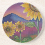 Sunflowers in front of Mountains Beverage Coaster