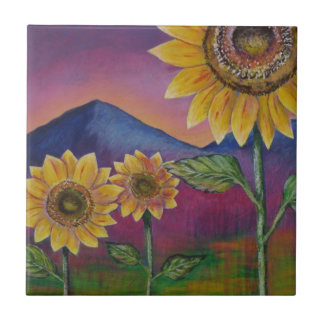 Sunflowers in front of Mountains Small Square Tile