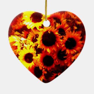 Sunflowers in has window! ceramic ornament