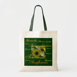 """""""Sunflowers"""" in Many Languages Tote Bag"""
